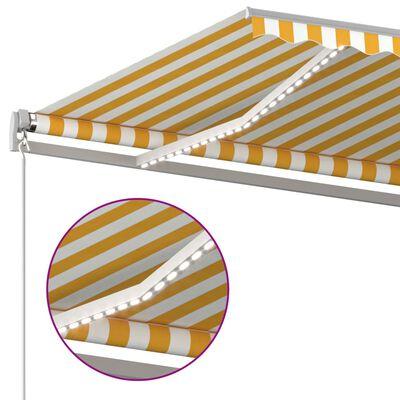 vidaXL Copertină retractabilă manual cu LED, galben & alb, 6x3 m