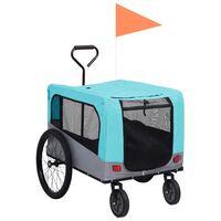 vidaXL Remorcă bicicletă & cărucior 2-în-1 animale, albastru și gri