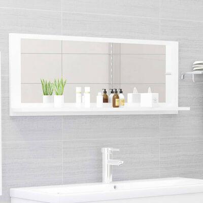 vidaXL Oglindă de baie, alb extralucios, 100 x 10,5 x 37 cm, PAL