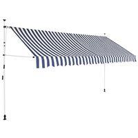 vidaXL Copertină retractabilă manual, dungi albastru și alb, 350 cm