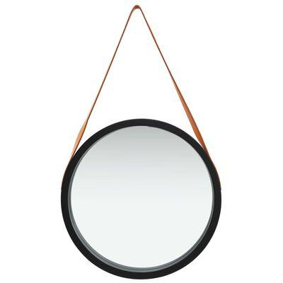 vidaXL Oglindă de perete cu o curea, 50 cm, negru