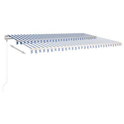 vidaXL Copertină autonomă retractabilă manual, albastru&alb 500x350 cm