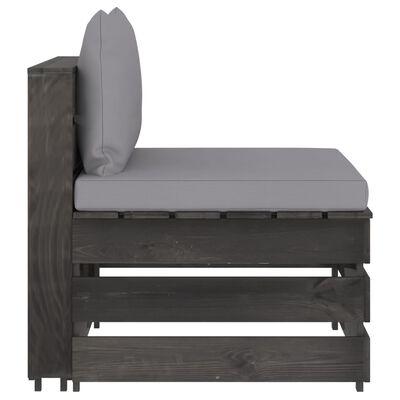 vidaXL Canapea de mijloc modulară cu perne, gri, lemn tratat