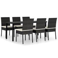 vidaXL Set de mobilier de grădină, 9 piese, negru, poliratan
