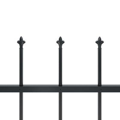vidaXL Gard de grădină cu vârf suliță, negru, 8,5 x 1 m, oțel