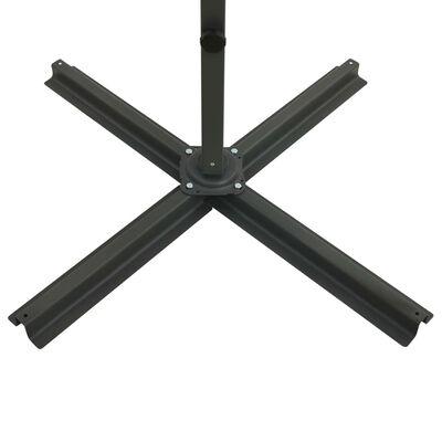 vidaXL Umbrelă suspendată cu stâlp și LED-uri, negru, 300 cm