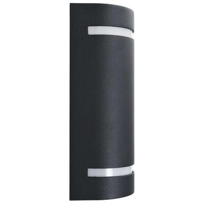 vidaXL Lămpi de perete pentru exterior 2 buc. negru 35 W semirotund