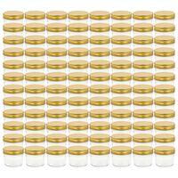 vidaXL Borcane din sticlă pentru gem, capace aurii, 96 buc, 110 ml