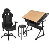 vidaXL Masă de desen, blat rabatabil, cu scaun de birou cu rotile