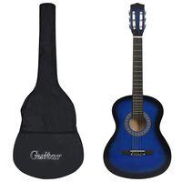"""vidaXL Set de chitară clasică copii, 8 piese, albastru, 3/4 36"""""""