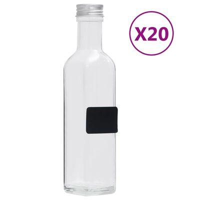 vidaXL Sticle, capace cu filet, 20 buc., 250 ml, pătrat