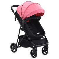 vidaXL Căruț/landou pentru copii 2-în-1, roz și negru, oțel