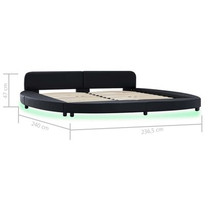 vidaXL Cadru de pat cu LED, negru, 180 x 200 cm, piele artificială