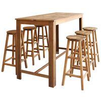 vidaXL Set masă și scaune de bar, 7 piese, lemn masiv de acacia
