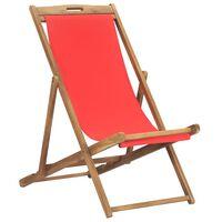 vidaXL Scaun de plajă pliabil, roșu, lemn masiv de tec