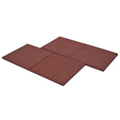 vidaXL Plăci de protecție la cădere 18 buc. roșu 50x50x3 cm cauciuc