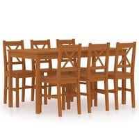 vidaXL Set mobilier de bucătărie, 7 piese, maro miere, lemn de pin