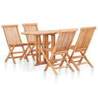 vidaXL Set mobilier de exterior pliabil, 5 piese, lemn masiv de tec