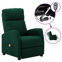 vidaXL Electric Massage Reclining Chair Dark Green Fabric (289712+327164)