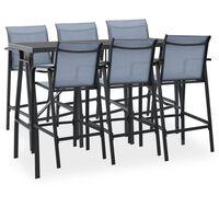 vidaXL Set mobilier de bar pentru grădină, 7 piese, negru și gri
