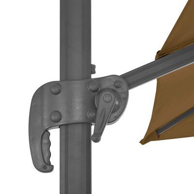 vidaXL Umbrelă suspendată cu stâlp din aluminiu gri taupe 300x300 cm
