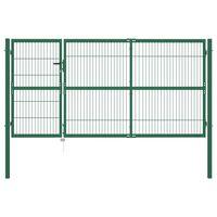 vidaXL Poartă gard de grădină cu stâlpi, verde, 350 x 140 cm, oțel