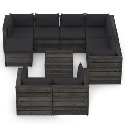 vidaXL Set mobilier de grădină cu perne, 10 piese, gri, lemn tratat