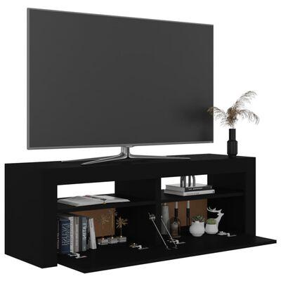 vidaXL Comodă TV cu lumini LED, negru, 120x35x40 cm