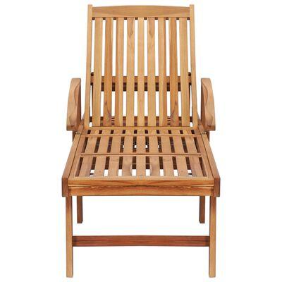 vidaXL Șezlong cu pernă și masă, lemn masiv de tec