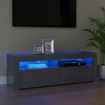 vidaXL Comodă TV cu lumini LED, gri extralucios, 120x35x40 cm