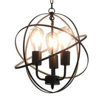 vidaXL Lampă suspendată, negru, sferă, 3 becuri x E27