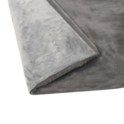 vidaXL Pătură, gri închis, 110x150 cm, blană ecologică de iepure