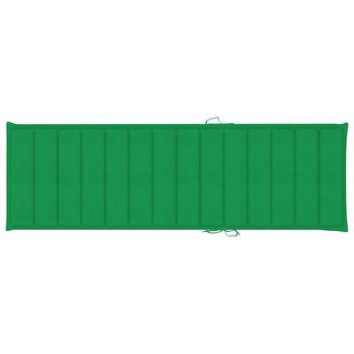 vidaXL Șezlong cu pernă verde, lemn de pin tratat