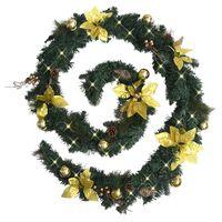 vidaXL Ghirlandă de Crăciun cu becuri LED, verde, 2,7 m, PVC