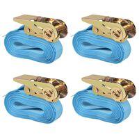 vidaXL Chingi fixare cu clichet 4 buc, 0,8 tone, 6 m x 25 mm, albastru