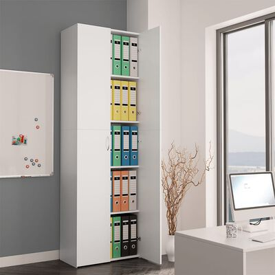 vidaXL Dulap de birou, alb, 60x32x190 cm, PAL