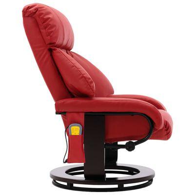 vidaXL Fotoliu de masaj rabatabil pentru TV, roșu, piele ecologică