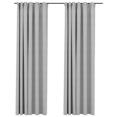 vidaXL Perdele opace aspect pânză, cârlige, 2 buc. gri, 140x225 cm
