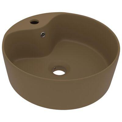 vidaXL Chiuvetă de lux cu preaplin, crem mat, 36 x 13 cm, ceramică