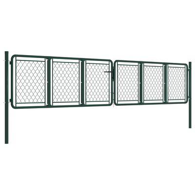 vidaXL Poartă de grădină, verde, 400 x 75 cm, oțel