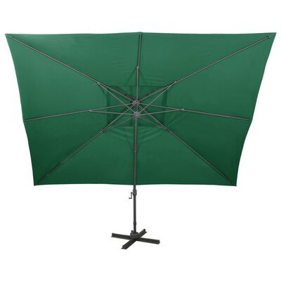 vidaXL Umbrelă suspendată cu acoperiș dublu, verde, 400x300 cm