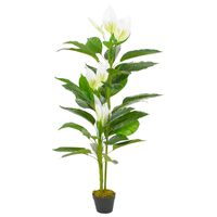 vidaXL Plantă artificială Anthurium cu ghiveci, alb, 155 cm