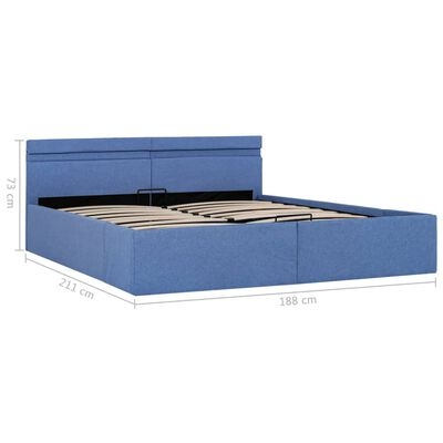 vidaXL Cadru pat hidraulic ladă și LED, albastru, 180 x 200 cm, textil