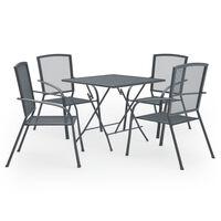 vidaXL Set de masă pentru grădină, 5 piese, antracit, oțel