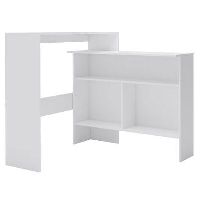 vidaXL Masă de bar cu 2 blaturi, alb, 130x40x120 cm