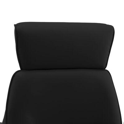 vidaXL Fotoliu de masaj rabatabil cu taburet, negru, piele ecologică