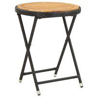 vidaXL Masă de ceai negru 60 cm poliratan lemn masiv acacia