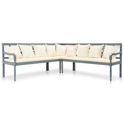 vidaXL Set mobilier de grădină, 4 piese, gri/alb, lemn masiv de acacia