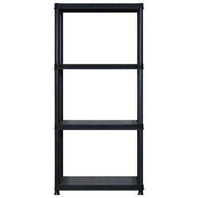 vidaXL Raft de depozitare cu 4 polițe, negru, 183x30,5x130 cm, plastic