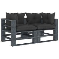 vidaXL Canapea de grădină din paleți cu 2 locuri, perne negre, lemn